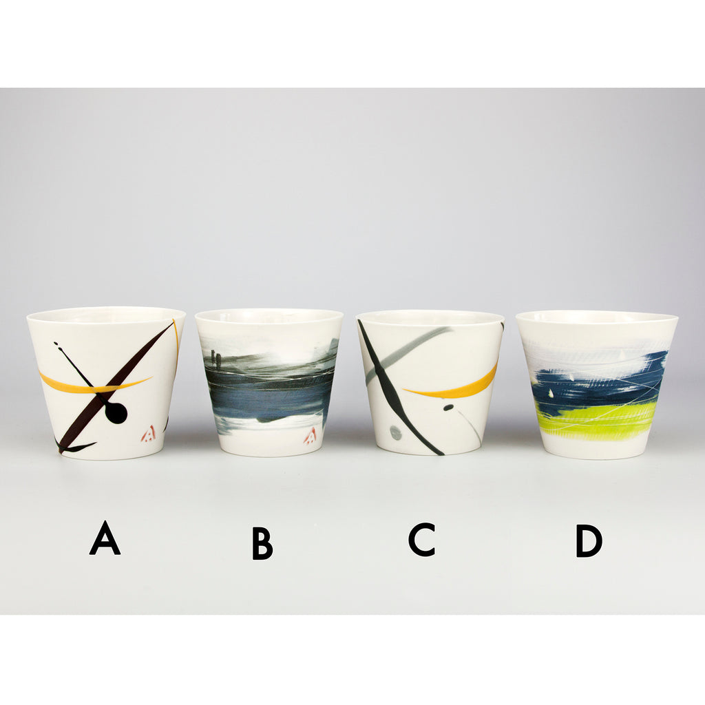 Colourful Brush Stroke Porcelain Cups