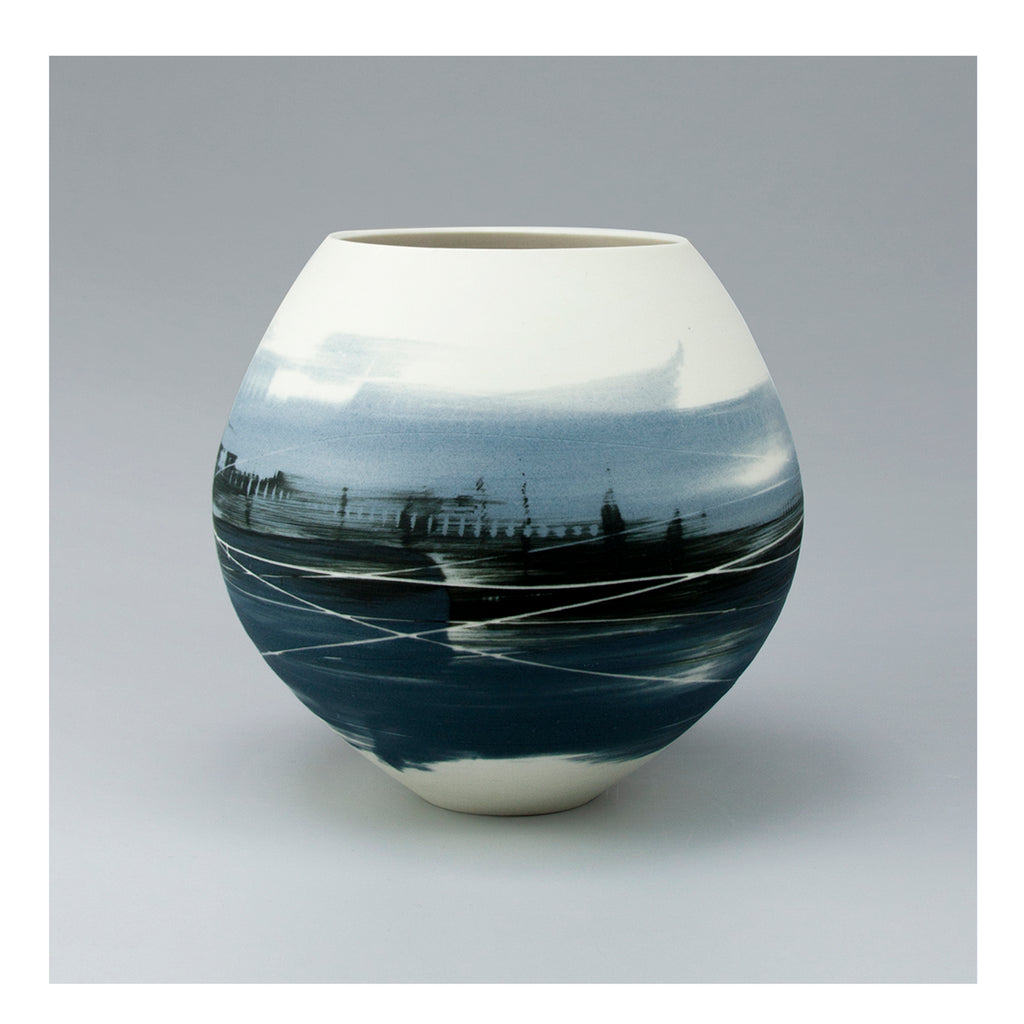Blue Landscape Spherical Vase