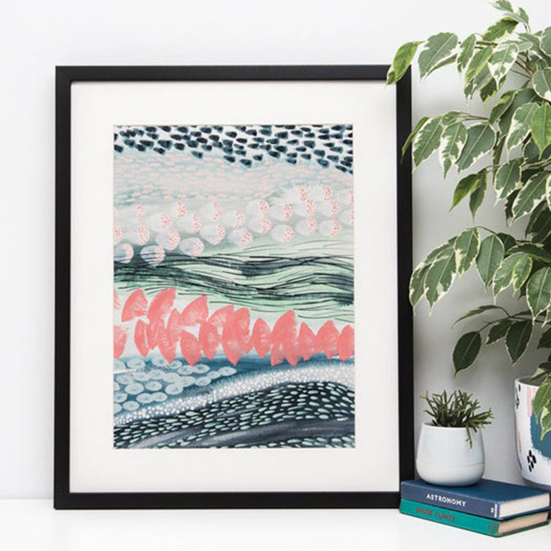 Abstract Pattern Stripes Watercolour Art Print