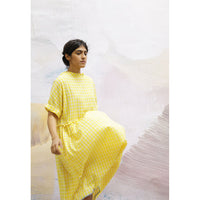'Adrianne' Yellow & White Check Dress