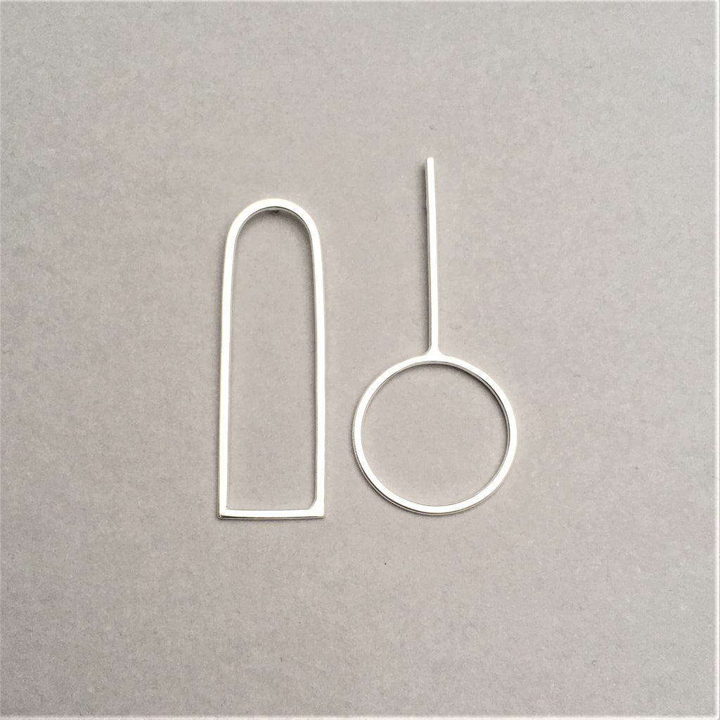 Arch and Skillet Geometric Silver Earrings
