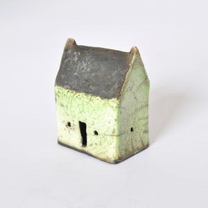 Mint Green and Natural Black Raku Fired Ceramic House