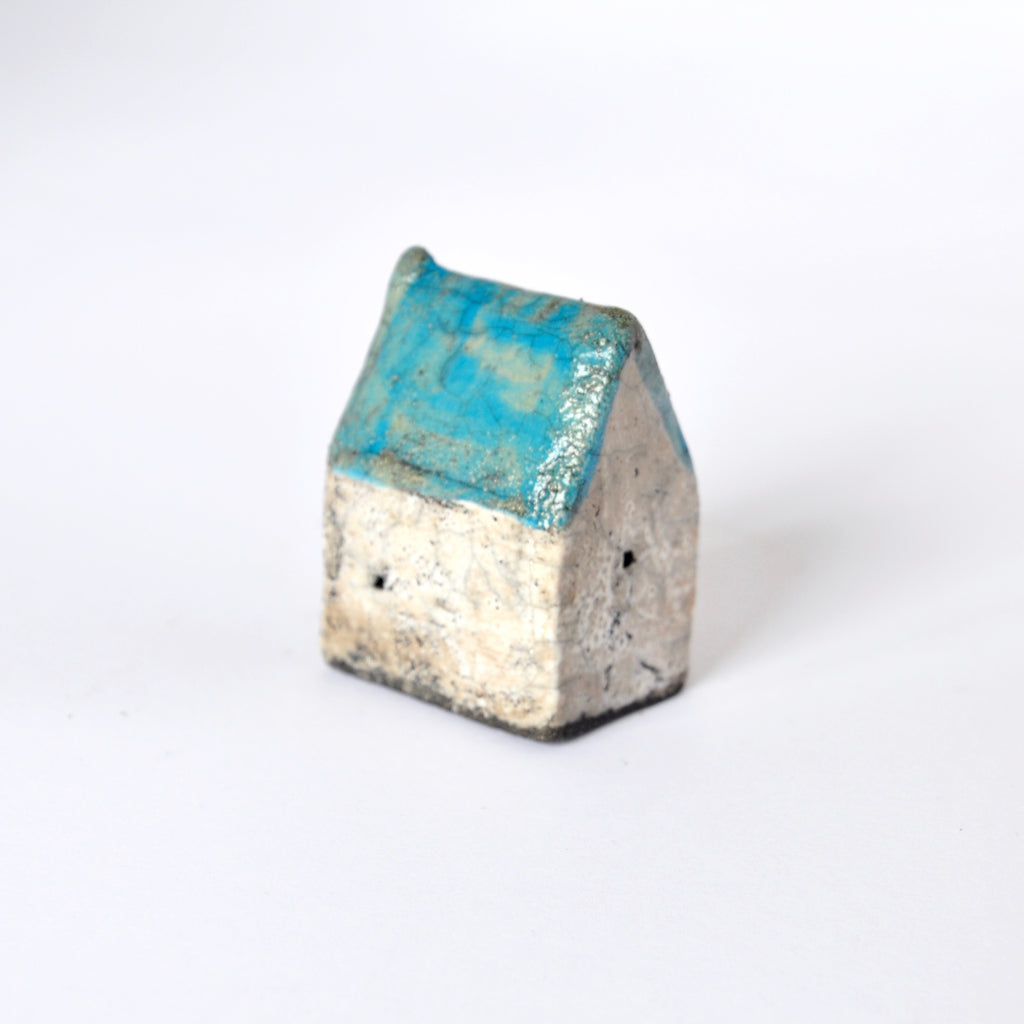 Bright Blue and White Raku Fired Ceramic House