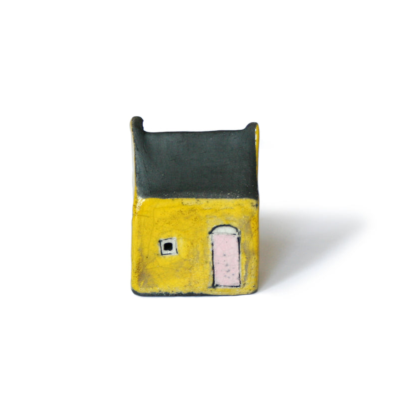 Yellow and Black Raku Fired Ceramic House