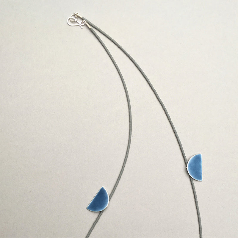Blue Enamel and Grey Glass Bead Necklace