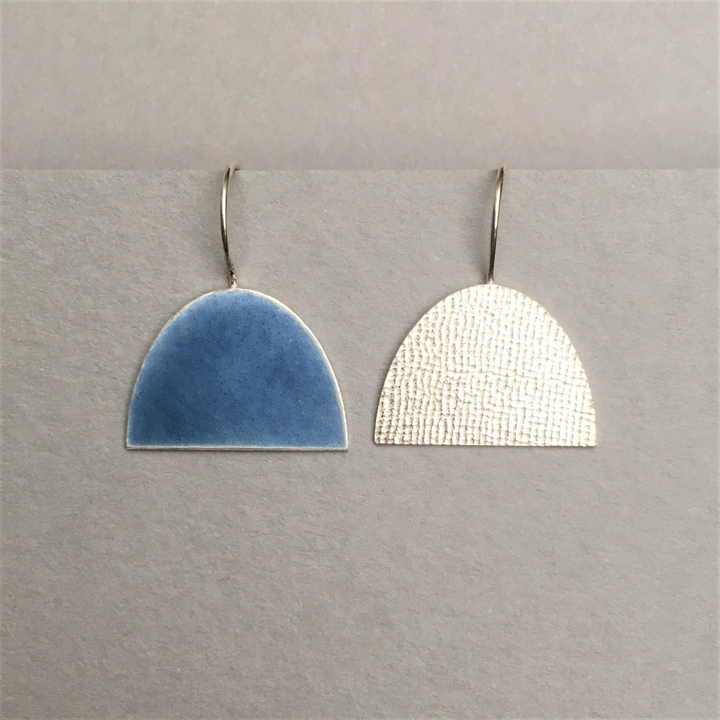 Half and Half Silver and Blue Enamel Earrings