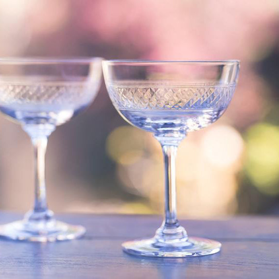 Pair of Band Etched Design Champagne Saucers
