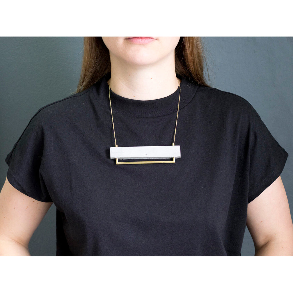 """Base Line"" Concrete & Brass Necklace"