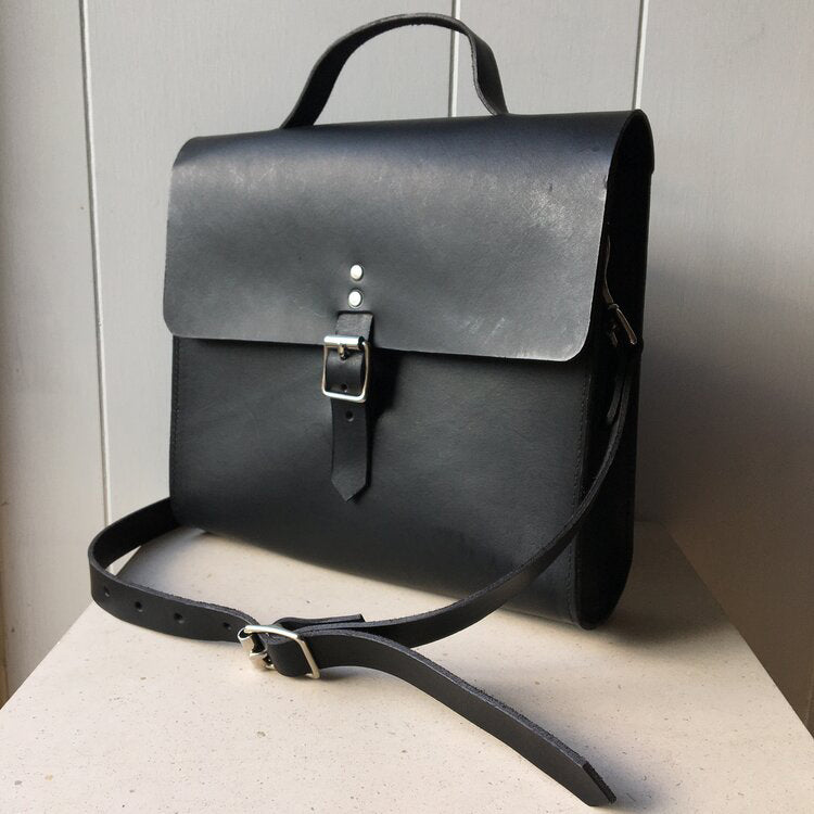 Leather Shoulder Bag-Black