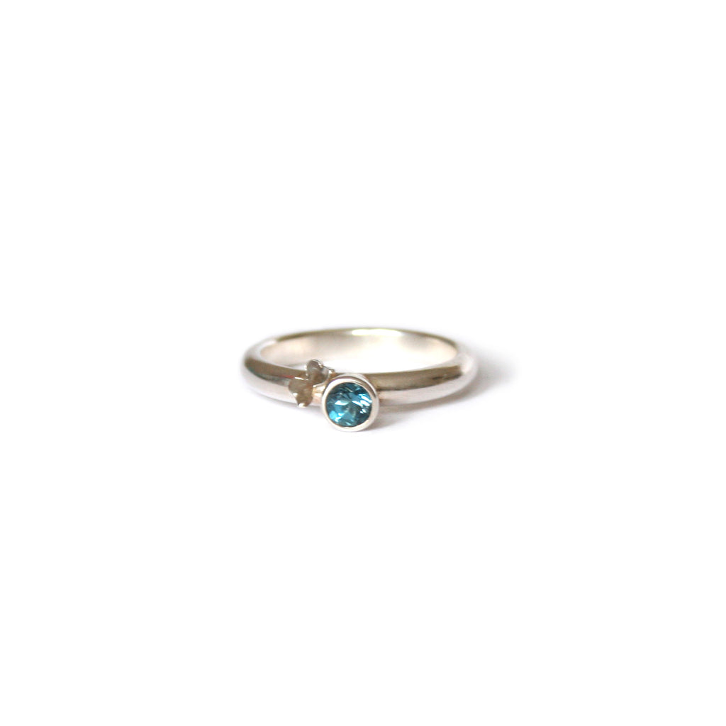 Butterfly & Blue Topaz Silver Ring