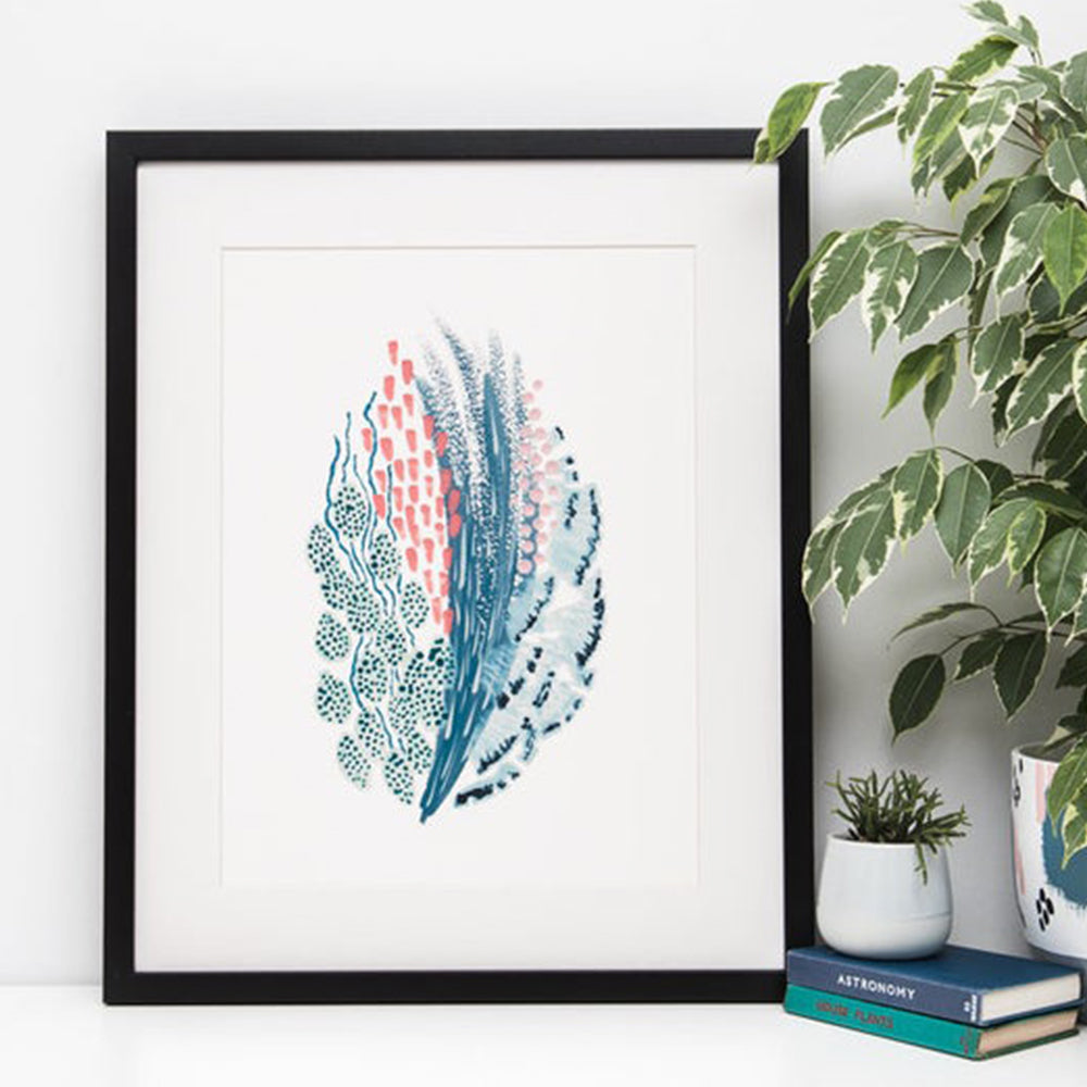 Abstract Blue and Pink Watercolour Art Print