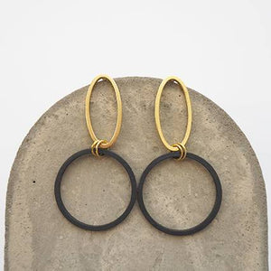 Oval Brass & Black Circle Earrings