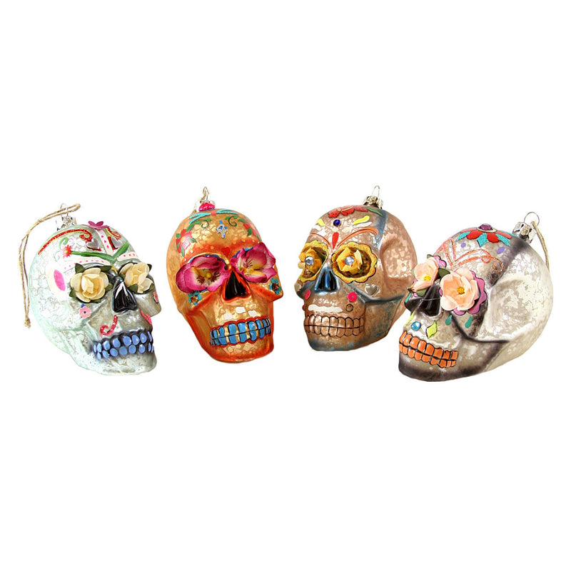 Day of The Dead Flower Skull Bauble