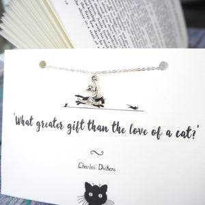 Charles Dickens Cat Lover  Necklace
