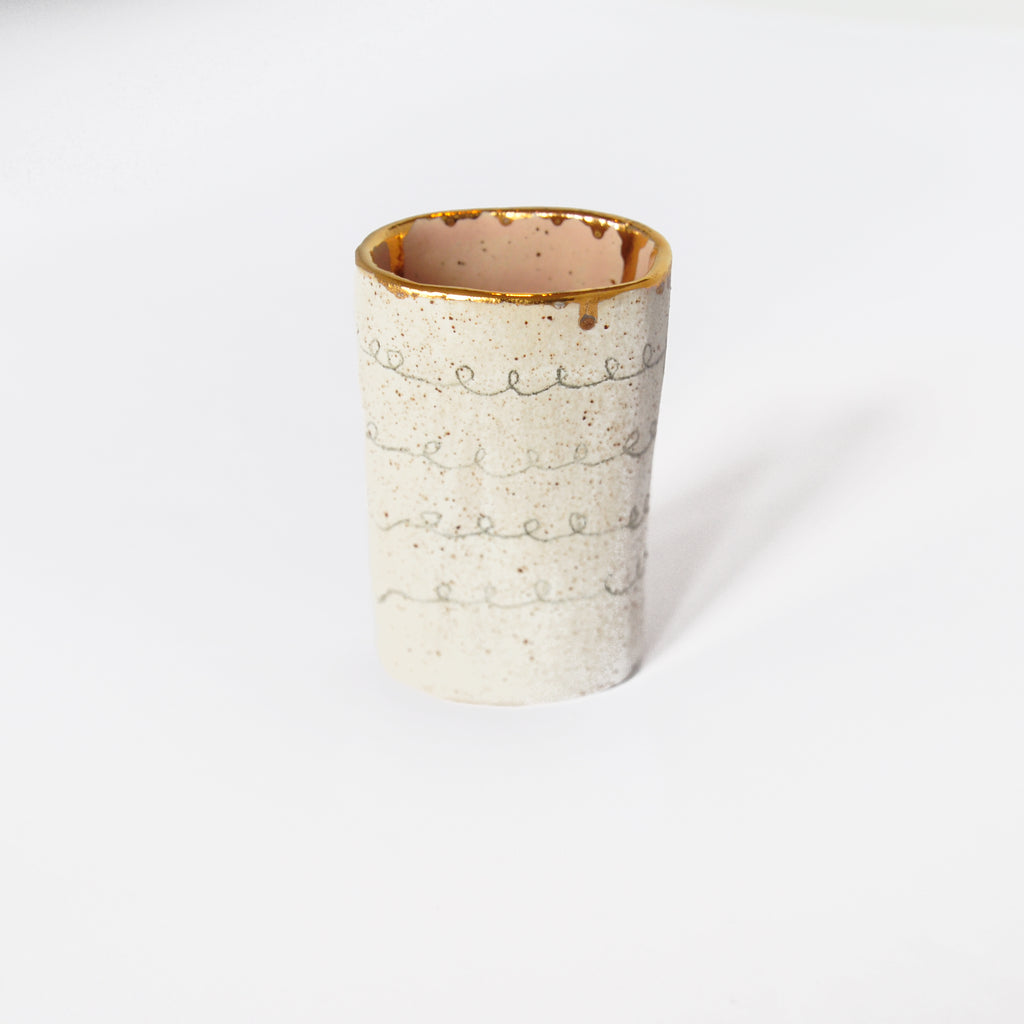 Ceramic Vase With Pink and Gold Detail