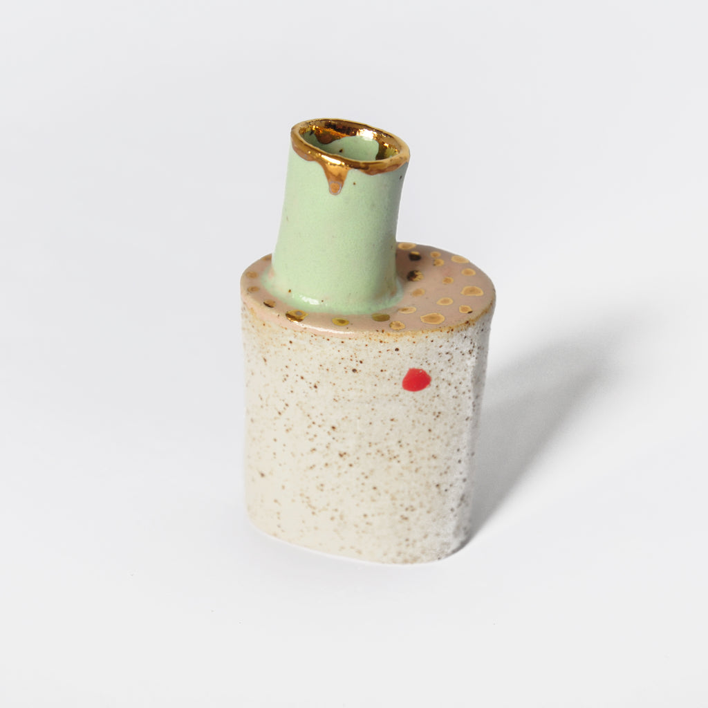 Ceramic Vase With Mint Green Chimney