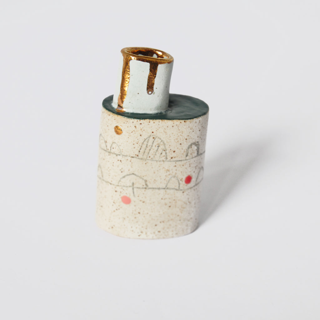 Ceramic Vase with Drawn Details and Chimney