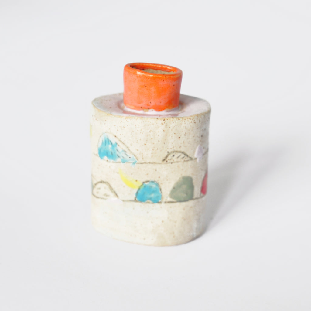 Ceramic Vase With Orange Neck