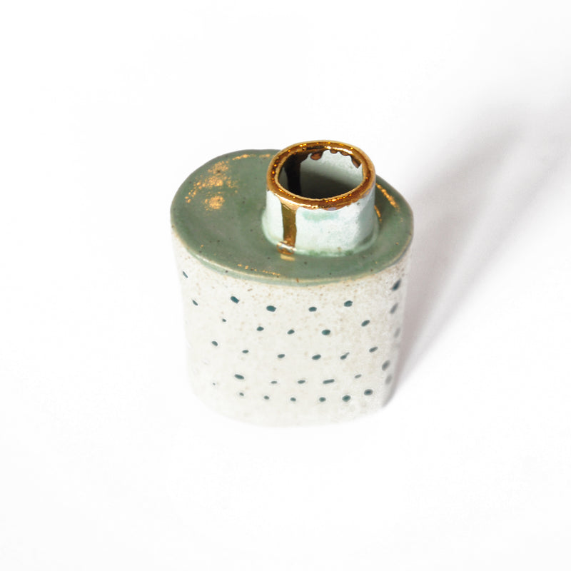 Ceramic Spotty Vase With Mint Green and Blue Chimney