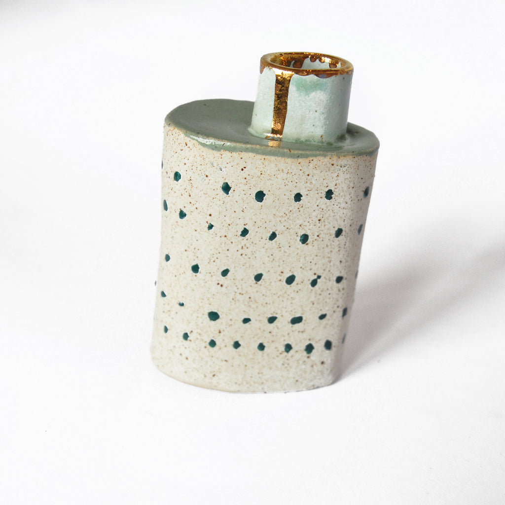 Ceramic Vase With Mint Green Chimney Detail