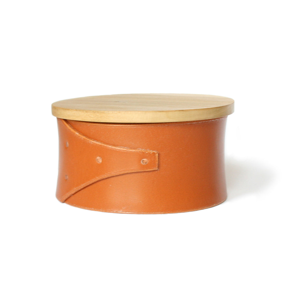 Large Tan Leather and Wood Shaker Style Box