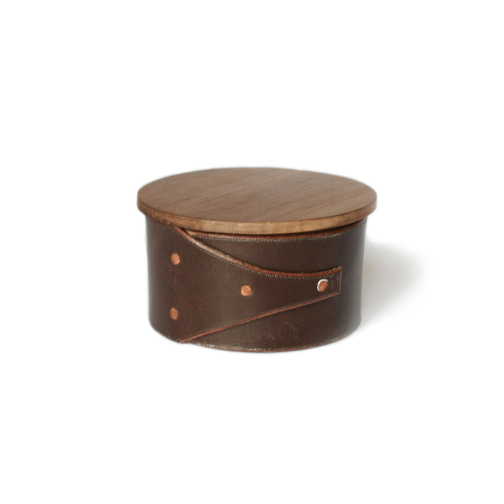 Small Brown Leather and Wood Shaker Style Box