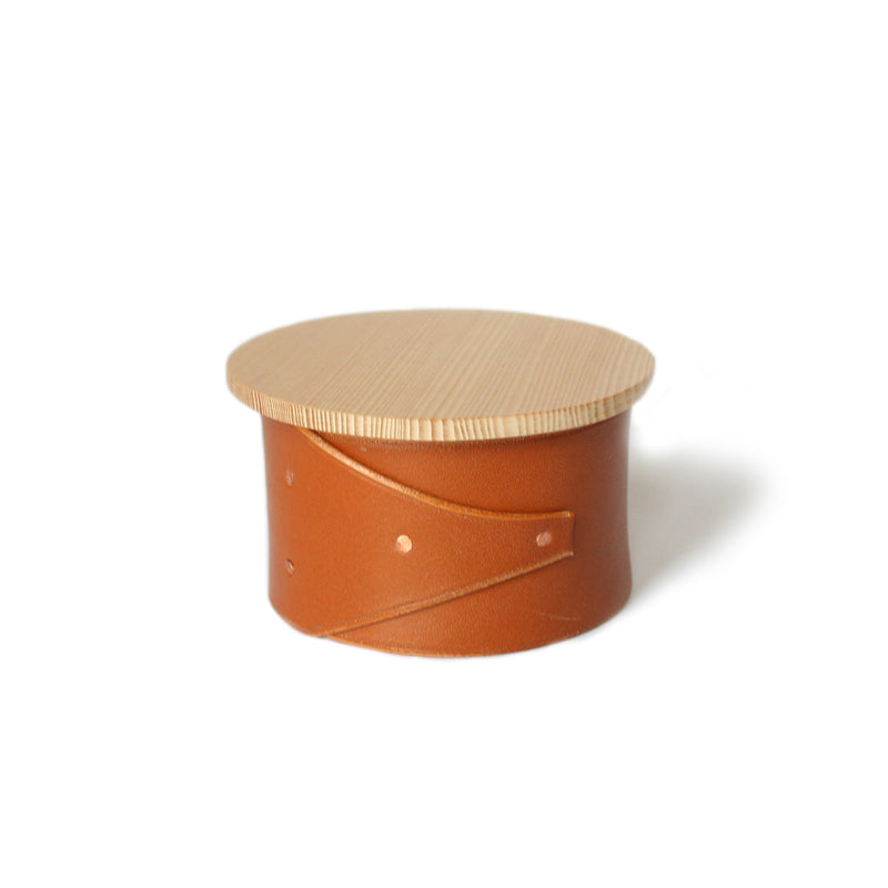 Small Tan Leather and Wood Shaker Style Box