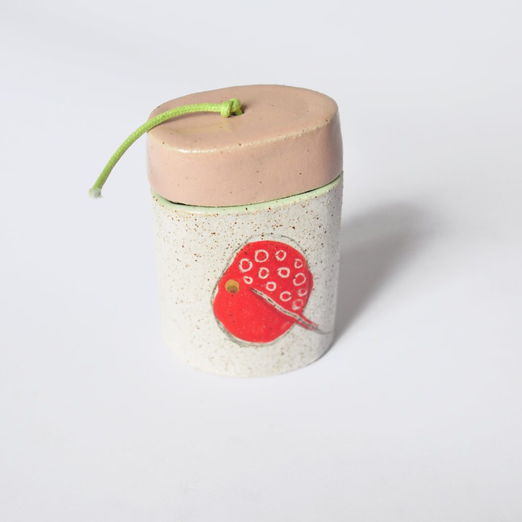 Ceramic Vase With Red Pallette Detail and Pink Lid