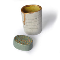 Ceramic Vase With Gold Edge and Green Lid