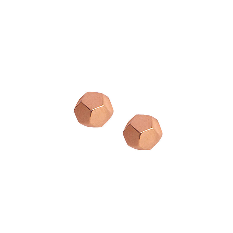 Dodecahedron Rose Gold Studs