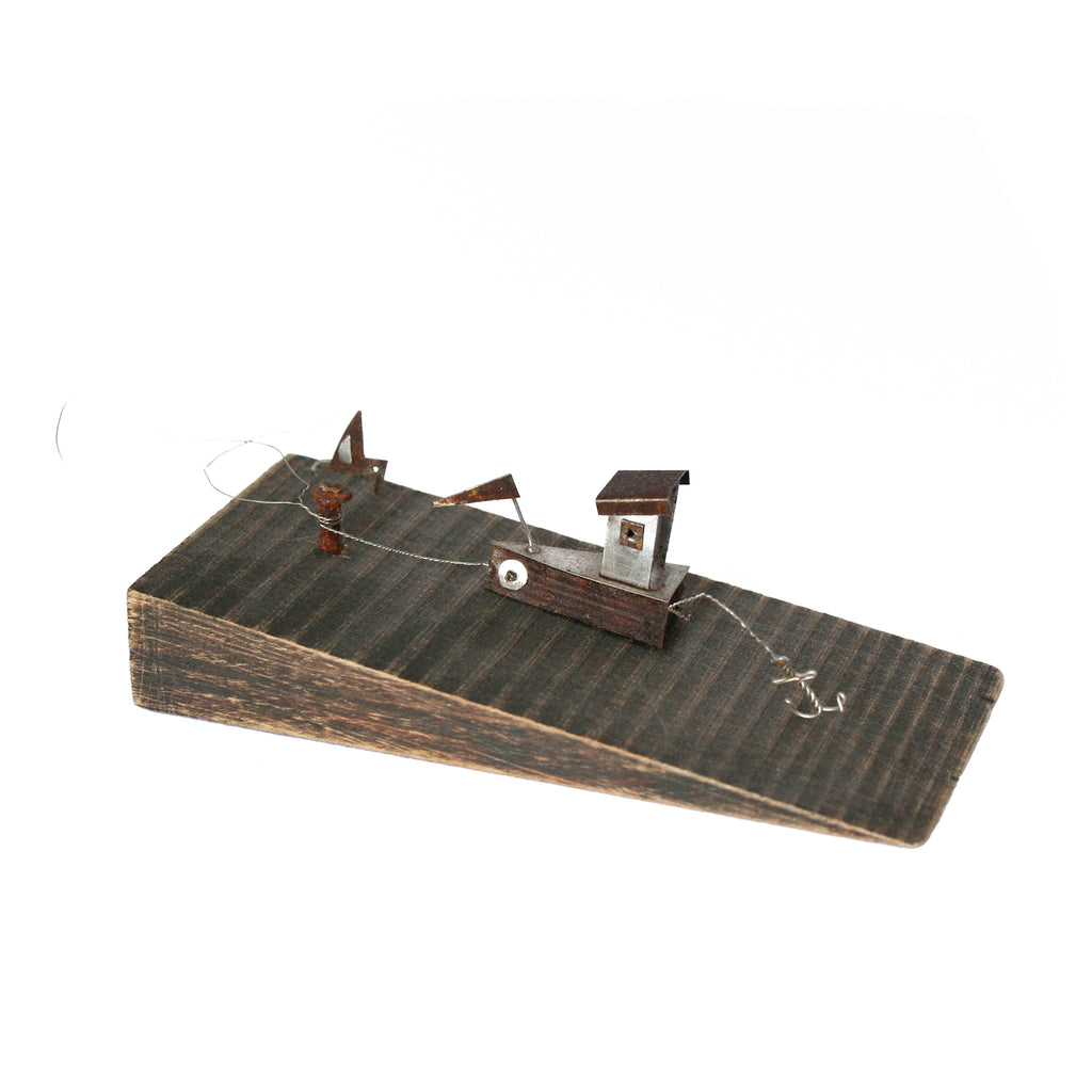 Docked Boat In Wood & Metal