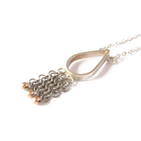"Silver, 9ct Gold & Titanium 'Chainmail"" Teardrop Necklace"