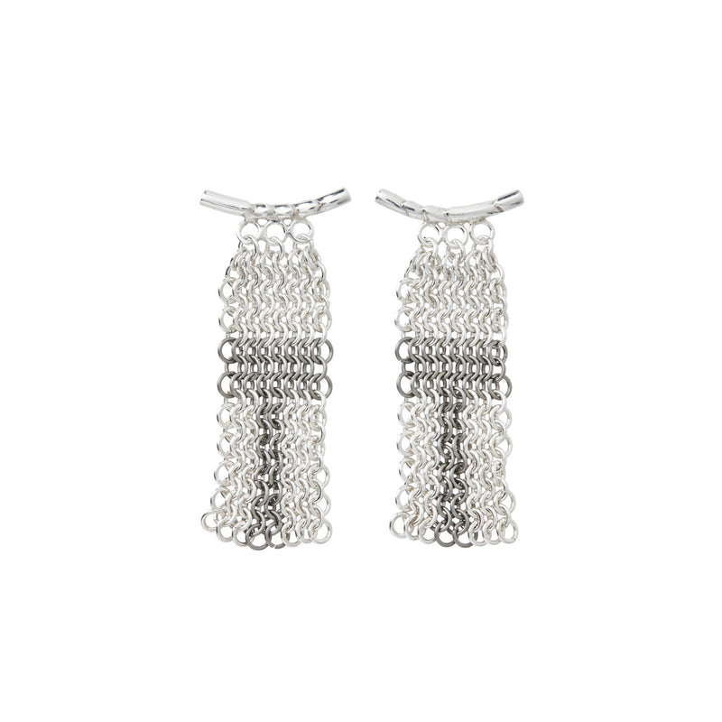 Silver & Titanium Chainmail 'Wealth' Earrings
