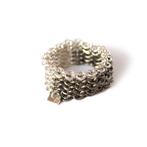 Block Pattern Silver & Titanium Chainmail Ring