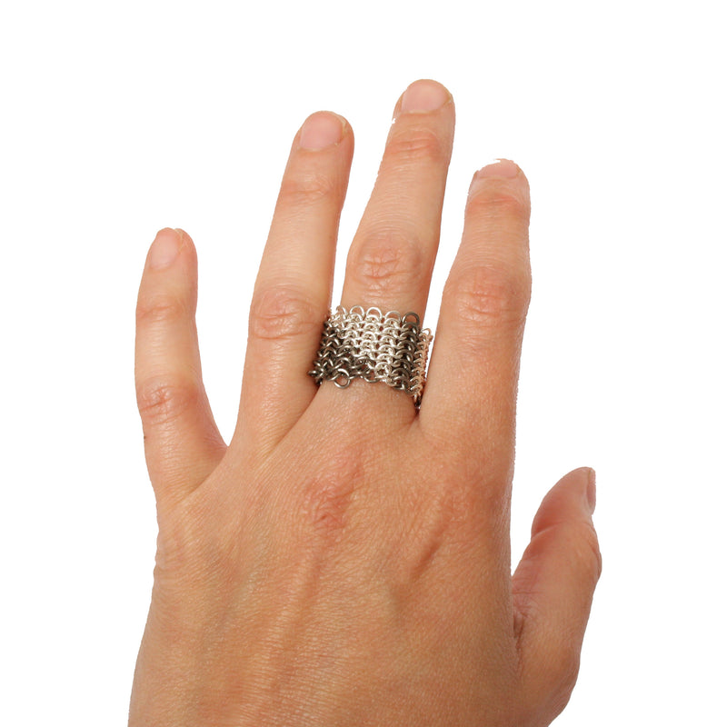 Angled Pattern Silver & Titanium Chainmail Ring