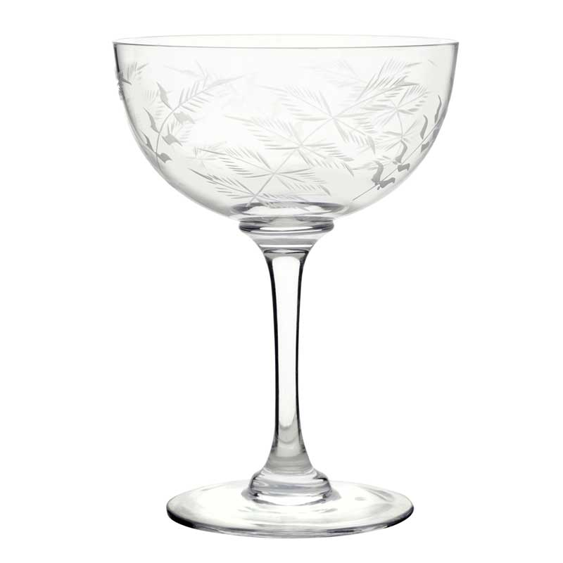 Fern Crystal Glass Champagne Saucer