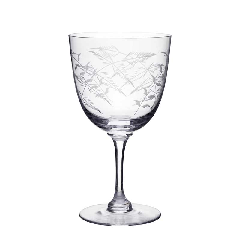 Fern Etched Wine Glass