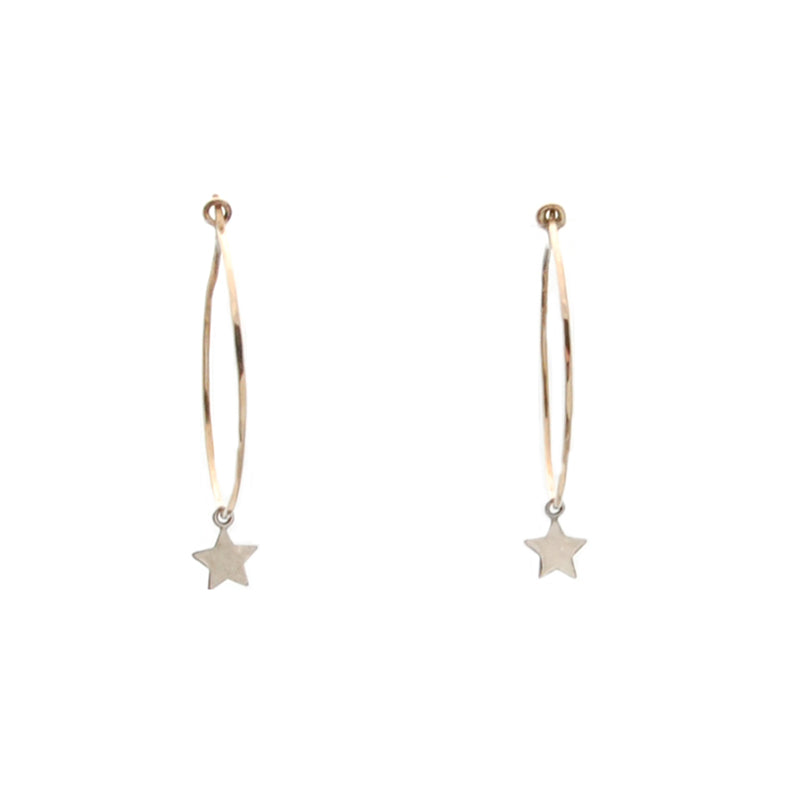 Star Hoop Earrings in Silver and Gold