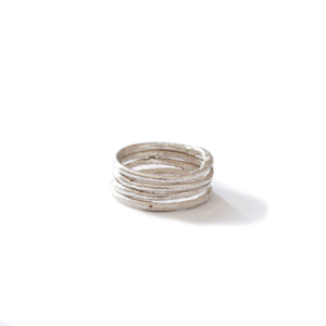 Four Silver Stacking Rings
