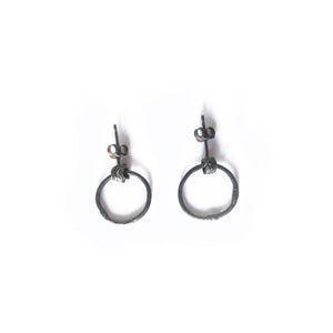 Oxidised Silver Wire Hoop Earrings