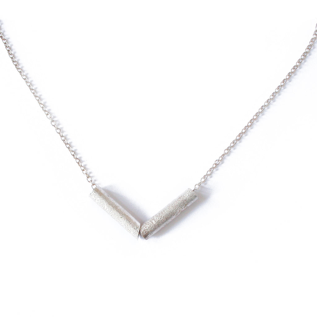 Silver Reticulated Tube Necklace