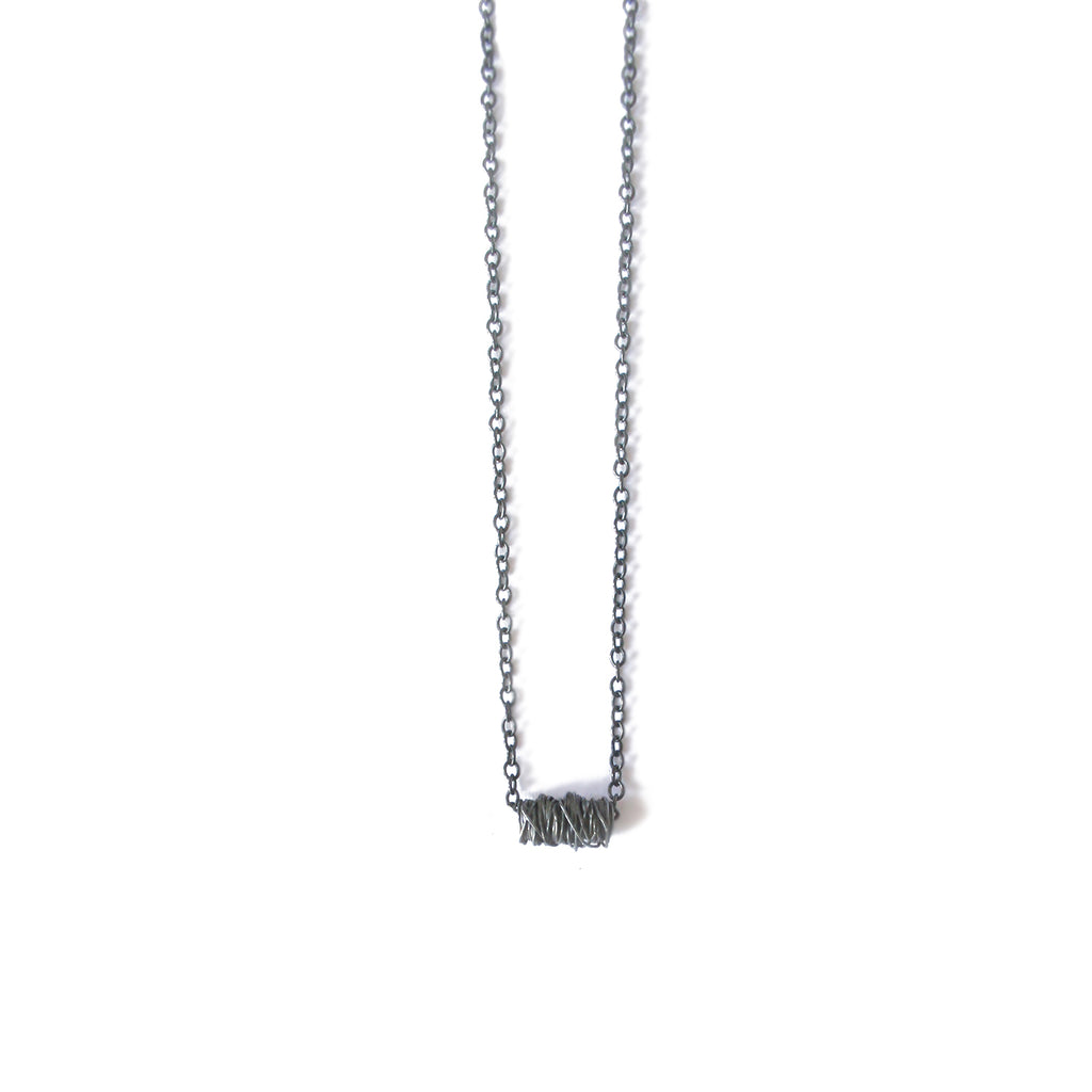 Oxidised Silver Wrap Necklace