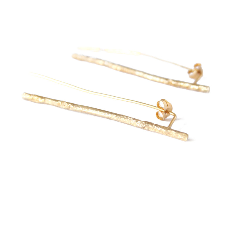 Gold Plated Twig Earrings