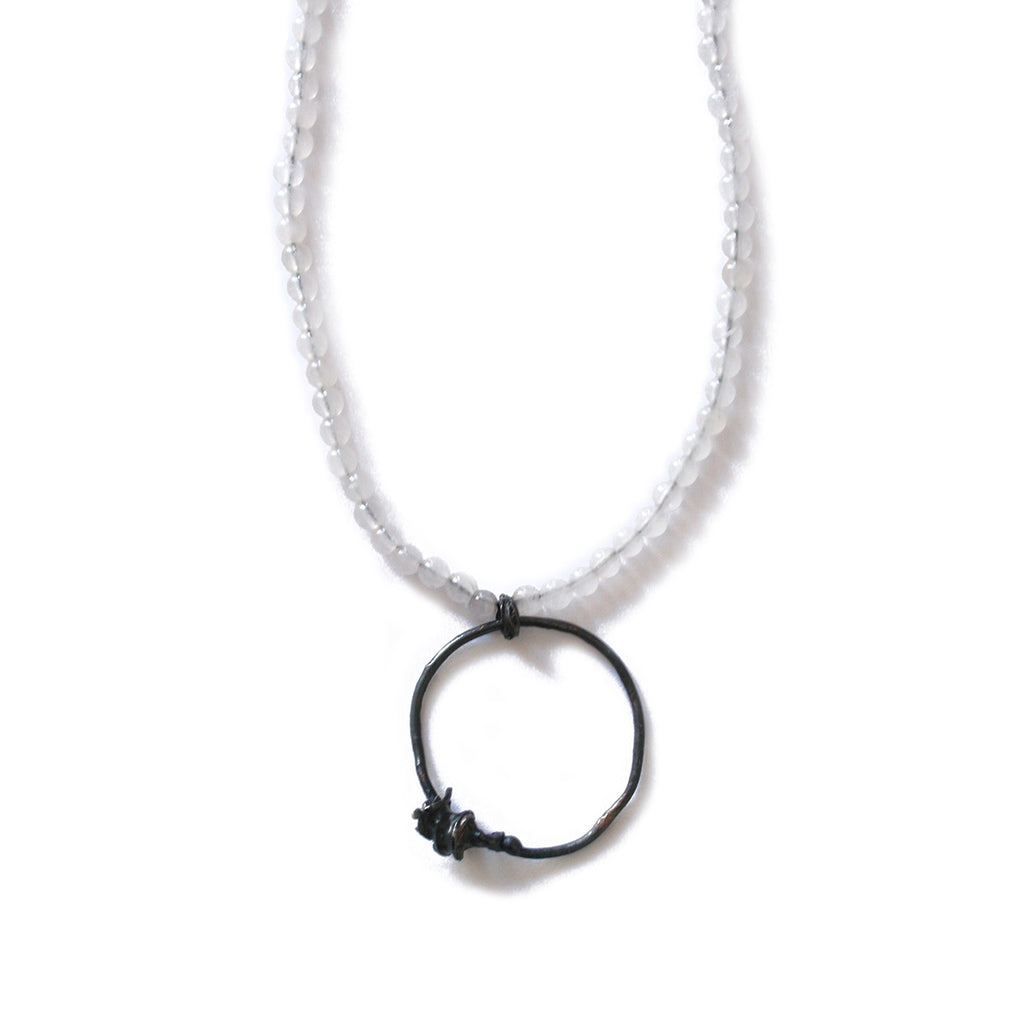 Quartz & Oxidised Silver Cast Necklace