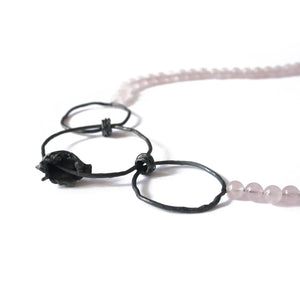 Rose Quartz & Oxidised Silver Cast Necklace