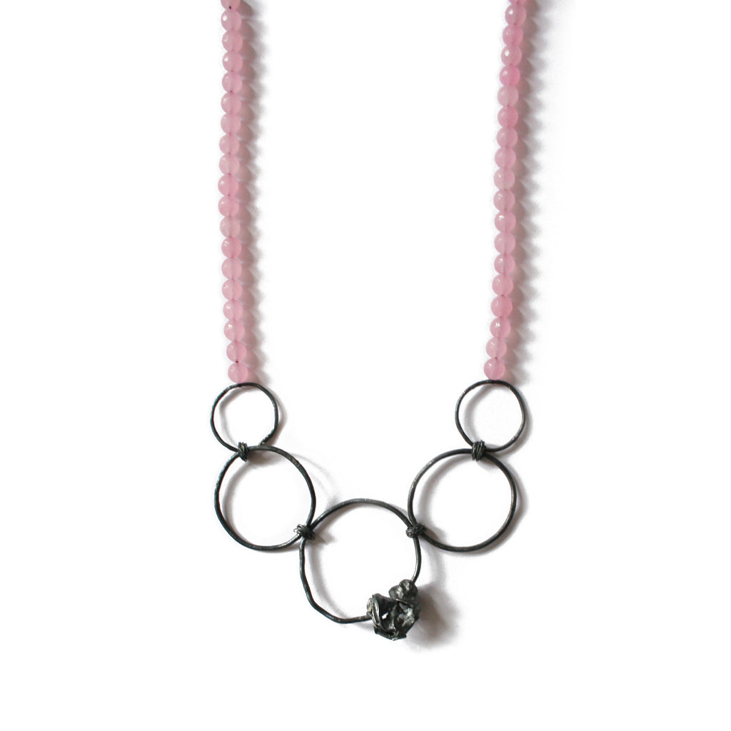 Large Rose Quartz & Silver Oxidised Necklace