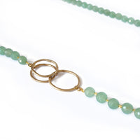 Large Green Aventurine & Gold Plated Organic Necklace