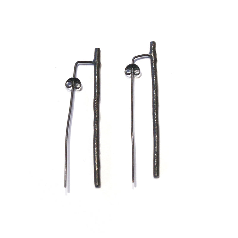 Oxidised Silver Twig Earrings