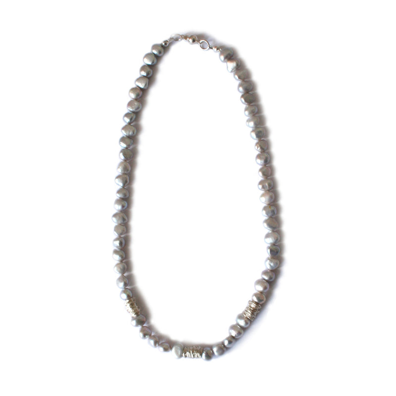 Grey Freshwater Pearl and Silver Wire Necklace