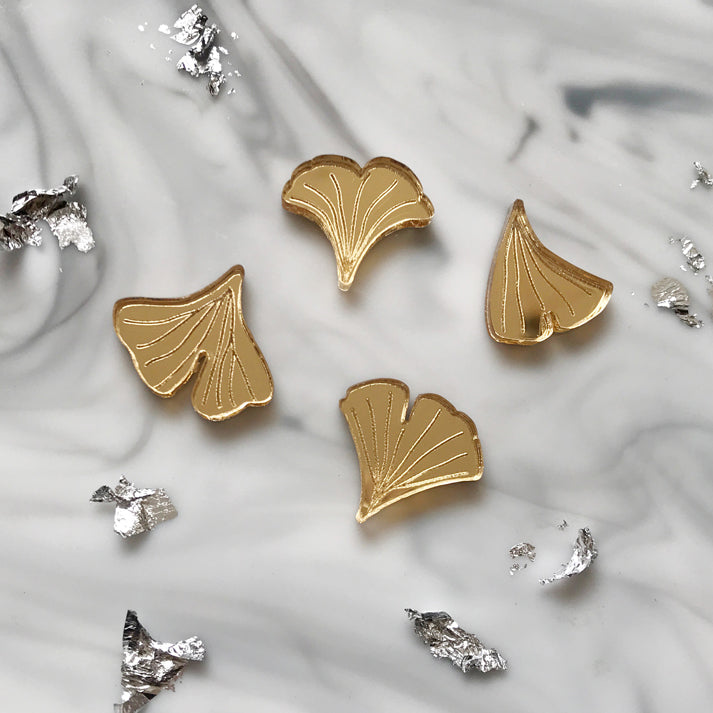 Four Gold Ginkgo Stud Earrings